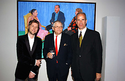 Left to right, CHRISTOPHER BAILEY, DAVID HOCKNEY and SANDY NAIRNE at an exhibition of David Hockney portraits at the National Portrait Gallery sponsored by Burberry on 11th October 2006.<br /><br />NON EXCLUSIVE - WORLD RIGHTS