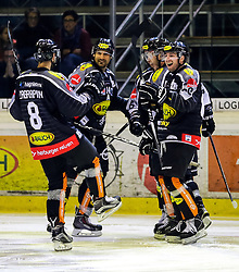 18.09.2015, Messestadion, Dornbirn, AUT, EBEL, Dornbirner Eishockey Club vs EC Red Bull Salzburg, 3. Runde, im Bild Jubel zum 4:3 fuer den (Dornbirner Eishockey Club // during the Erste Bank Icehockey League 3rd round match between Dornbirner Eishockey Club vs EC Red Bull Salzburg at the Messestadion in Dornbirn, Austria on 2015/09/18. EXPA Pictures © 2015, PhotoCredit: EXPA/ Peter Rinderer