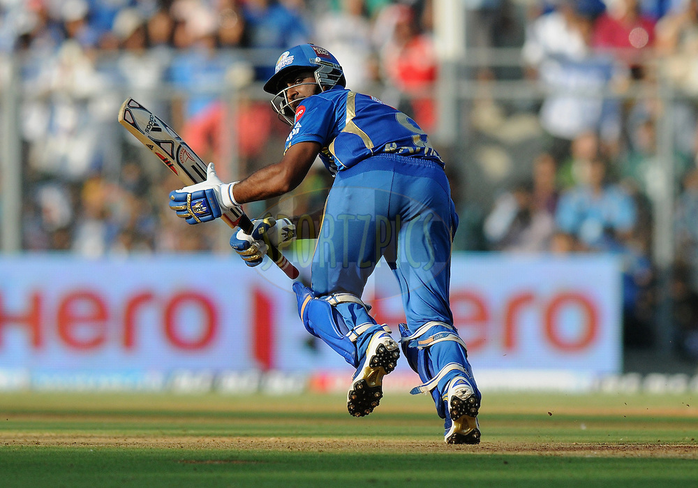 Ambati Raydu of Mumbai Indians bats during match 28 of the Indian Premier League ( IPL) 2012  between The Mumbai Indians and the Kings X1 Punjab held at the Wankhede Stadium in Mumbai on the 22nd April 2012..Photo by Pal Pillai/IPL/SPORTZPICS.
