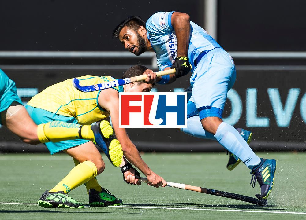 BREDA -  Manpreet Singh (Ind.) met Lachlan Sharp (Aus) .Australia-India (1-1), finale Rabobank Champions Trophy 2018. Australia wint shoot outs.  COPYRIGHT  KOEN SUYK