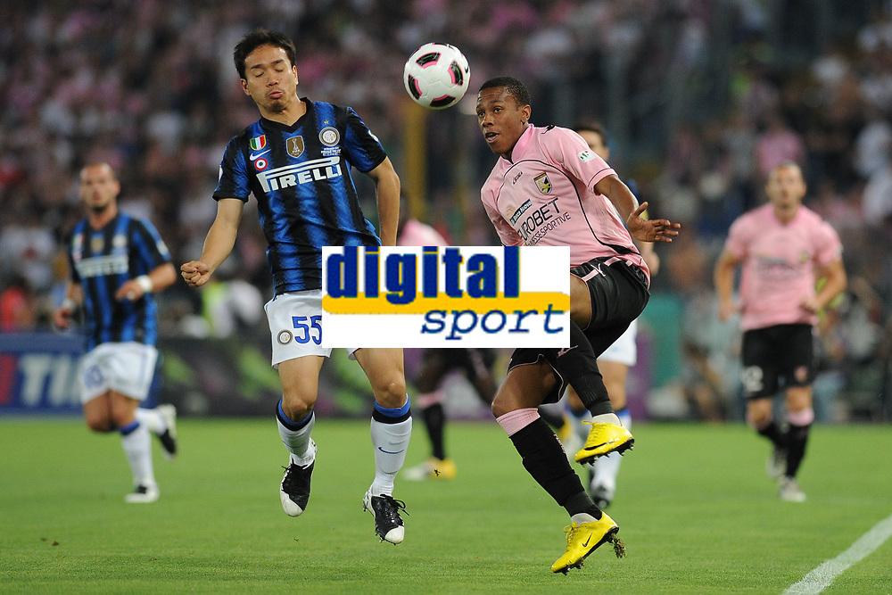 Abel Hernandez (Palermo) Yuto Nagatomo (Inter)<br /> Inter vs Palermo<br /> Tim Cup, finale di Coppa Italia di calcio<br /> Stadio Olimpico, Roma, 29/05/2011<br /> Photo Antonietta Baldassarre Insidefoto