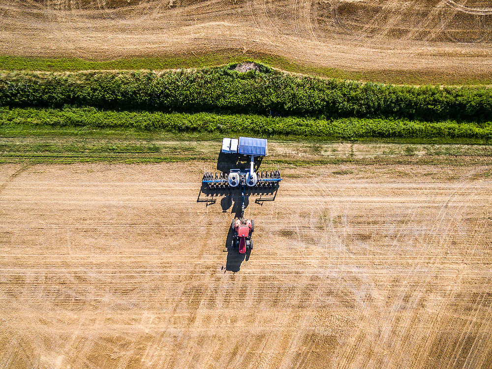 Aerial view of a planter refilling its seeds on a farm located in Federalsburg, Maryland.