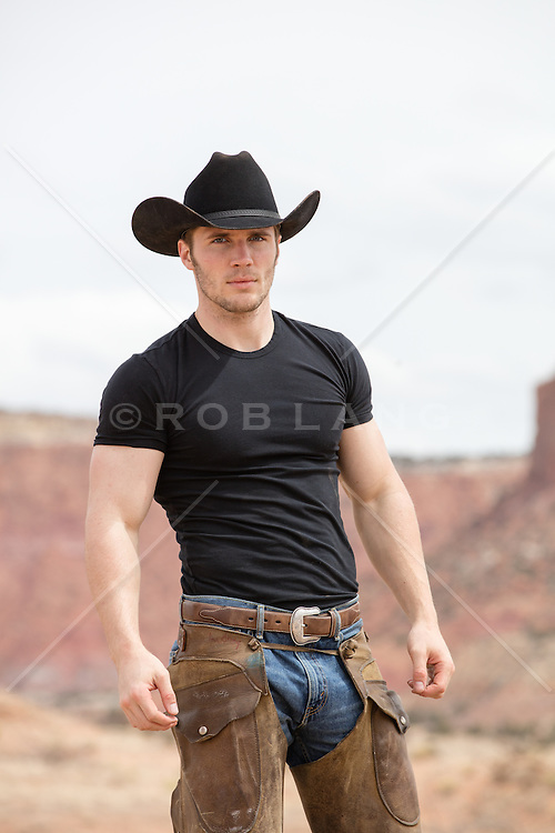 sexy cowboy in chaps outdoors