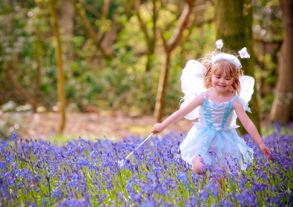 Little girl dressed up as a fairy playing happily amongst the bluebells in her feathery wings and waving her wand
