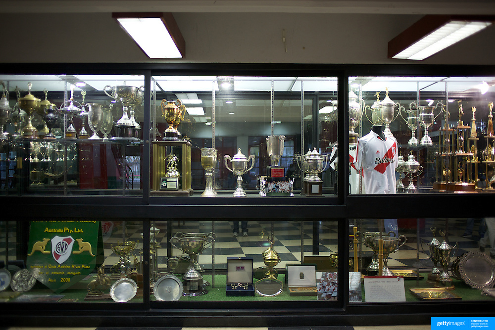 The trophy cabinet at River Plates'' El Monumental stadium, Buenos Aires, Argentina, 25th June 2010. Photo Tim Clayton..