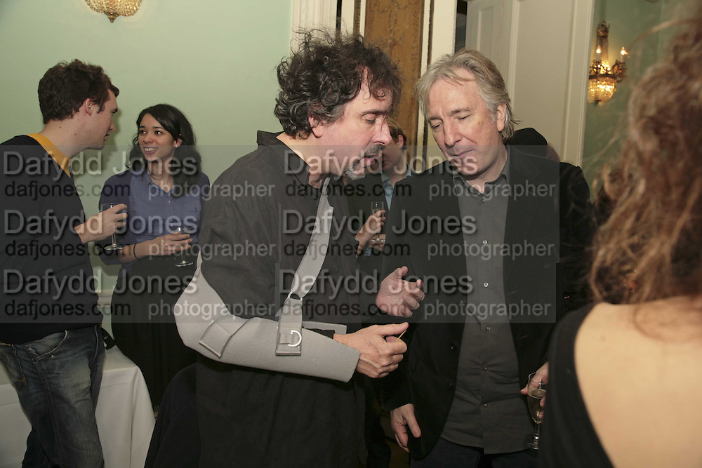 TIM BURTON AND ALAN RICKMAN, PARTY AT DARTMOUTH HOUSE AFTER A PREMIERE SCREENING OF PERFUME AT THE CURZON. LONDON.<br />