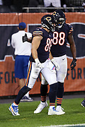 Chicago Bears tight end Zach Miller (86) celebrates after catching a 20 yard touchdown pass in the end zone that ties the fourth quarter score at 17-17 after a two point conversion during the 2017 NFL week 5 regular season football game against the against the Minnesota Vikings, Monday, Oct. 9, 2017 in Chicago. The Vikings won the game 20-17. (©Paul Anthony Spinelli)