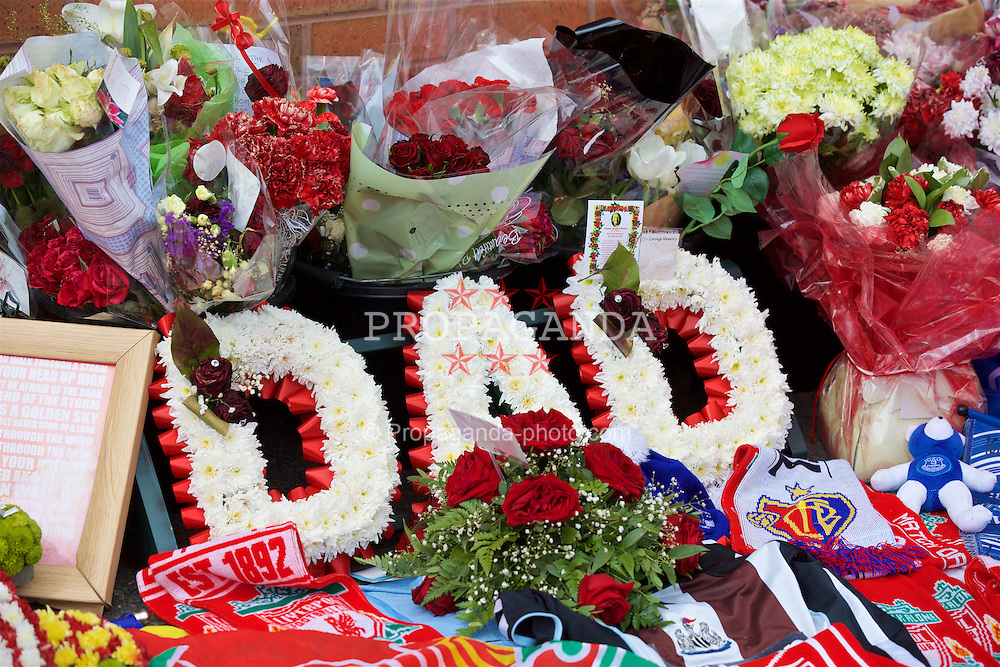 "LIVERPOOL, ENGLAND - Thursday, May 5, 2016: Floral tributes, ""Dad"" left at Liverpool's temporary memorial to the 96 victims of the Hillsborough disaster, pictured ahead of the UEFA Europa League Semi-Final 2nd Leg match against Villarreal at Anfield. (Pic by David Rawcliffe/Propaganda)"