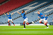 Adedapo Awokya-Mebude (#) of Rangers FC runs away to celebrate after scoring a goal during the Scottish FA Youth Cup Final match between Celtic and Rangers at Hampden Park, Glasgow, United Kingdom on 25 April 2019.