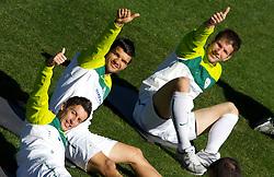 Robert Koren, Aleksander Radosavljevic and Bostjan Cesar  of Slovenia during a training session at  Hyde Park High School Stadium on June 14, 2010 in Johannesburg, South Africa.  (Photo by Vid Ponikvar / Sportida)