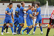 Paul Robinson Celebrates Goal during the Pre-Season Friendly match between AFC Wimbledon and Cheltenham Town at the Cherry Red Records Stadium, Kingston, England on 1 August 2015. Photo by Stuart Butcher.