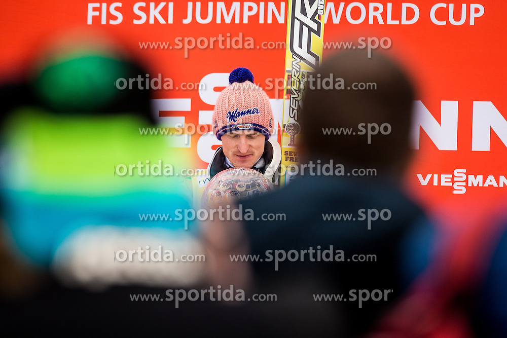 Overall World Cup winner Severin Freund of Germany celebrates with a globe during final trophy ceremony after the Ski Flying Individual Competition at Day 4 of FIS World Cup Ski Jumping Final, on March 22, 2015 in Planica, Slovenia. Photo by Grega Valancic / Sportida