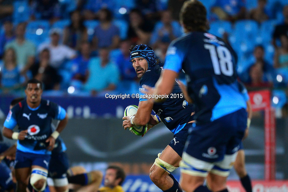 Victor Matfield of the Bulls during the 2015 Super Rugby rugby match between the Bulls and the Hurricanes at Loftus Versfeld in Pretoria, South Africa on February 20, 2015 ©/BackpagePix