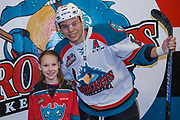 KELOWNA, CANADA - FEBRUARY 02:  Home Hardware Stick Girl with Carsen Twarynski #18 of the Kelowna Rockets at the Kelowna Rockets game on February 02, 2018 at Prospera Place in Kelowna, British Columbia, Canada.  (Photo By Cindy Rogers/Nyasa Photography,  *** Local Caption ***