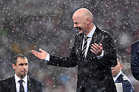 FUSSBALL  WM 2018  FINALE  ------- Frankreich - Kroatien    15.07.2018 FIFA-Praesident Gianni Infantino (Schweiz) steht im Regen
