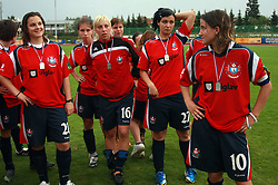 Team Pomurje  (Alena Milkovic-21, Sasa Ljubec -16, Nina Kovacic -27 and Mateja Zver - 10) after final game of NZS women football cup between ZNK Pomurje vs ZNK Krka, on June 4, 2008, at ZAK stadium in Ljubljana, Slovenia. Krka won the match 4:1 and became Slovenian Cup Champion. (Photo by Vid Ponikvar / Sportal Images)