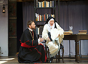 The Heresy of Love <br /> By Helen Edmundson<br /> at Shakespeare's Globe Theatre, London, Great Britain <br /> press photocall <br /> 4th August 2015 <br /> <br /> Directed by<br /> John Dove<br /> <br /> Rhiannon Oliver<br /> Sor Sebastiana<br /> <br /> Anthony Howell<br /> Bishop Santa Cruz<br /> <br /> <br /> <br /> Photograph by Elliott Franks <br /> Image licensed to Elliott Franks Photography Services