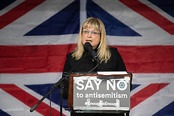 © Licensed to London News Pictures . 16/09/2018. Manchester, UK. President of the British Board of Deputies MARIE VAN DER ZYL . Thousands of people including the UK's Chief Rabbi and several Members of Parliament attend a demonstration against rising anti-Semitism in British politics and society , at Cathedral Gardens in Manchester City Centre . Photo credit : Joel Goodman/LNP