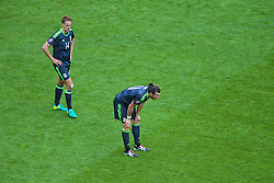 LENS, FRANCE - Thursday, June 16, 2016: Wales' David Edwards and Gareth Bale look dejected as England score an injury time winning goal during the UEFA Euro 2016 Championship Group B match at the Stade Bollaert-Delelis. (Pic by Paul Greenwood/Propaganda)
