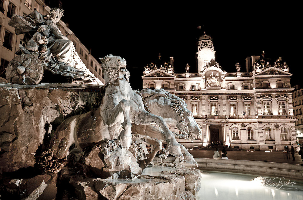 Hotel de Ville and Place des Terreaux at night, Lyon, France (UNESCO World Heritage Site)
