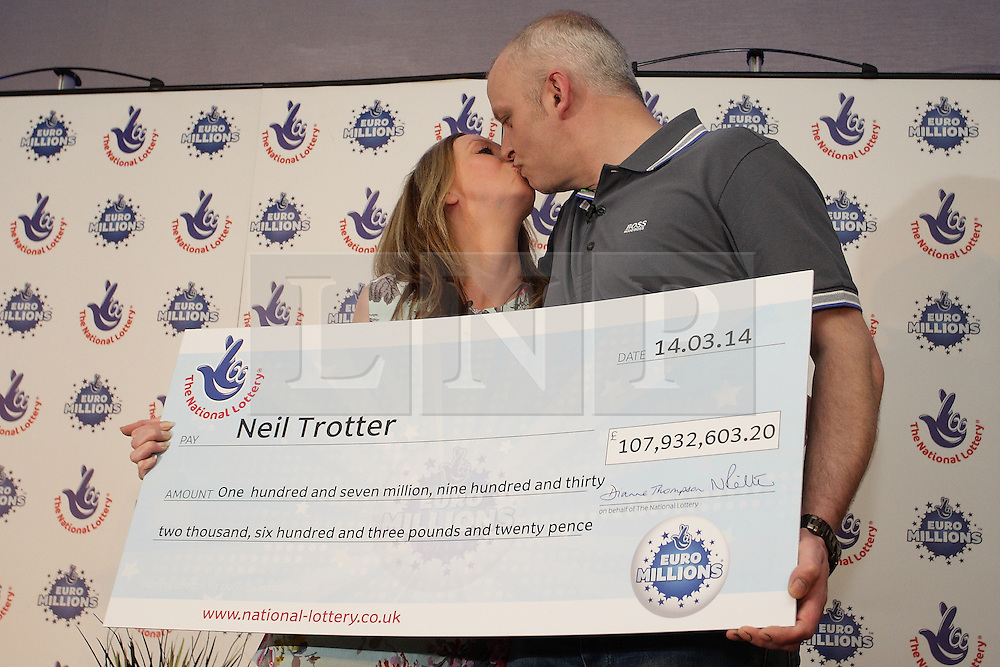 LNP Weekly Highlights 21/03/14 © Licensed to London News Pictures. 18/03/2014. London, UK.  Neil Trotter of Coulsdon, Surrey wins £108,000,000 from a lucky dip euro Millions lottery ticket. Pictured here at Wotton Hotel, Wotton, Dorking Surrey with long term girlfriend Nicky Ottaway. Photo credit : /LNP