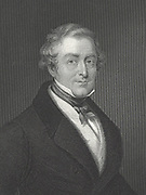 Robert Peel (1788-1856)  English Whig (Liberal) politician and Prime Minister. Engraving.