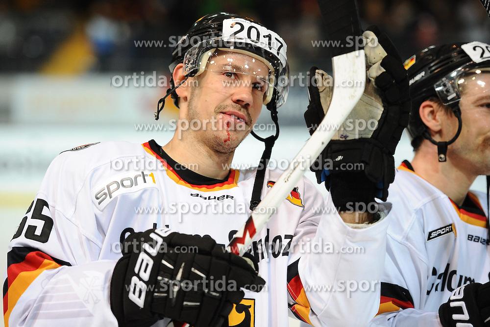 08.11.2014, Olympia Eisstadion, Muenchen, GER, IIHF, Deutschland Cup, Deutschland vs Slowakei, im Bild Kai Hospelt (Deutschland) // during the German Cup Match between Germany and Slowakia at the Olympia Eisstadion in Muenchen, Germany on 2014/11/08. EXPA Pictures © 2014, PhotoCredit: EXPA/ Eibner-Pressefoto/ Laegler<br /> <br /> *****ATTENTION - OUT of GER*****