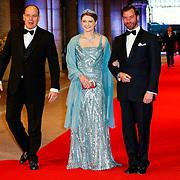 NLD/Amsterdam/20130429- Afscheidsdiner Konining Beatrix Rijksmuseum, prince Albert of Monaco, Duke Guillaume and duke Stephanie of Luxembourg