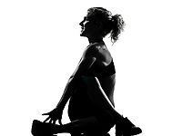 one woman exercising  warming up yoga stretching rotation fitness posture workout  aerobic posture on studio isolated white background