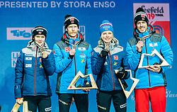 02.03.2019, Seefeld, AUT, FIS Weltmeisterschaften Ski Nordisch, Seefeld 2019, Siegerehrung, im Bild Bronzemedaillengewinner Anna Odine Stroem (NOR), Robert Johansson (NOR), Maren Lundby (NOR), Andreas Stjernen (NOR) // Bronzemedaillengewinner Anna Odine Stroem (NOR) Robert Johansson (NOR) Maren Lundby (NOR) Andreas Stjernen (NOR) during the winner Ceremony for the FIS Nordic Ski World Championships 2019. Seefeld, Austria on. EXPA Pictures © #JAHR#, PhotoCredit: EXPA/ Stefan Adelsberger