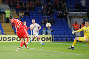 Wales forward Gareth Bale shoots at goal during the Friendly match between Wales and Belarus at the Cardiff City Stadium, Cardiff, Wales on 9 September 2019.