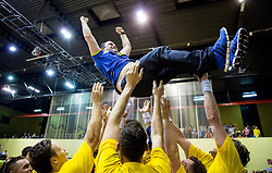 Branko Tamse, head coach of Celje PL celebrates after winning during handball match between RK Gorenje Velenje and RK Celje Pivovarna Lasko in Final match of 1st NLB League - Slovenian Championship 2013/14 on May 23, 2014 in Rdeca dvorana, Velenje, Slovenia. RK Celje Pivovarna Lasko became 18-times Slovenian National Champion. Photo by Vid Ponikvar / Sportida