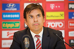 VIENNA, AUSTRIA - Wednesday, October 5, 2016: Wales' manager Chris Coleman during a press conference at the Ernst-Happel-Stadion ahead of the 2018 FIFA World Cup Qualifying Group D match against Austria. (Pic by David Rawcliffe/Propaganda)