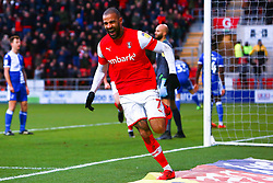 Kyle Vassell of Rotherham United celebrates his goal - Mandatory by-line: Ryan Crockett/JMP - 18/01/2020 - FOOTBALL - Aesseal New York Stadium - Rotherham, England - Rotherham United v Bristol Rovers - Sky Bet League One