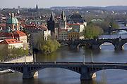 View of the city, the Vltava and bridges of Prague from Letna Park Prague, Czech Republic.