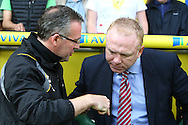 Picture by Paul Chesterton/Focus Images Ltd.  07904 640267.13/05/12.Norwich Manager Paul Lambert and Aston Villa Manager Alex McLeish before the Barclays Premier League match at Carrow Road Stadium, Norwich.