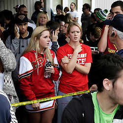 Students wait for family members at Shoultes Gospel Hall church after an active shooter situation at Marysville-Pilchuck High School in Marysville, Washington October 24, 2014. The shooter who opened fire at a high school in Washington State on Friday was a student at the campus and is now dead following the incident, police said.  REUTERS/Jason Redmond   (UNITED STATES)