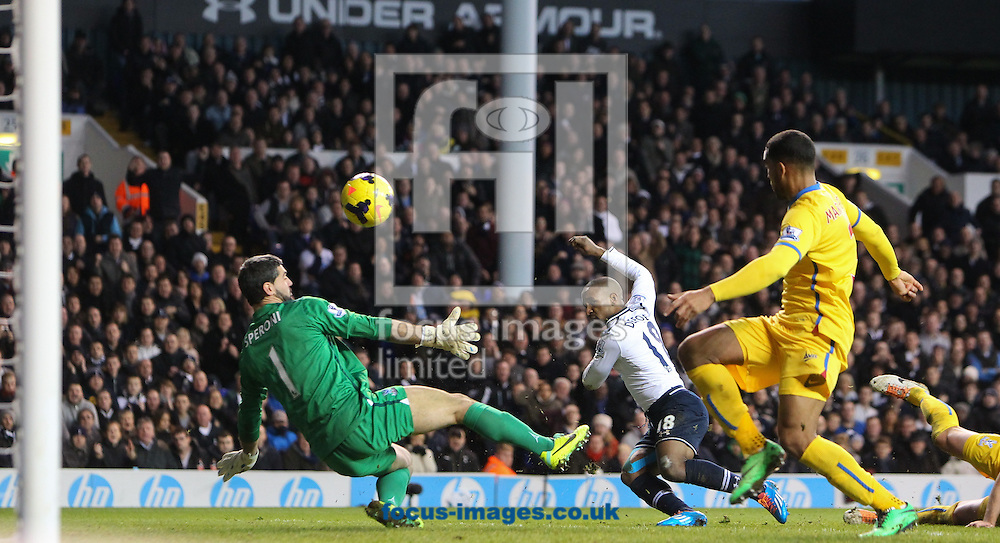 Picture by John Rainford/Focus Images Ltd +44 7506 538356<br /> 11/01/2014<br /> Jermaine Defoe of Tottenham Hotspur clips the ball over Julian Speroni of Crystal Palace during the Barclays Premier League match at White Hart Lane, London.