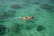 Southern Africa. Mozambique. Bazaruto Archipelago. Woman snorkelling on the reef..DVD0014