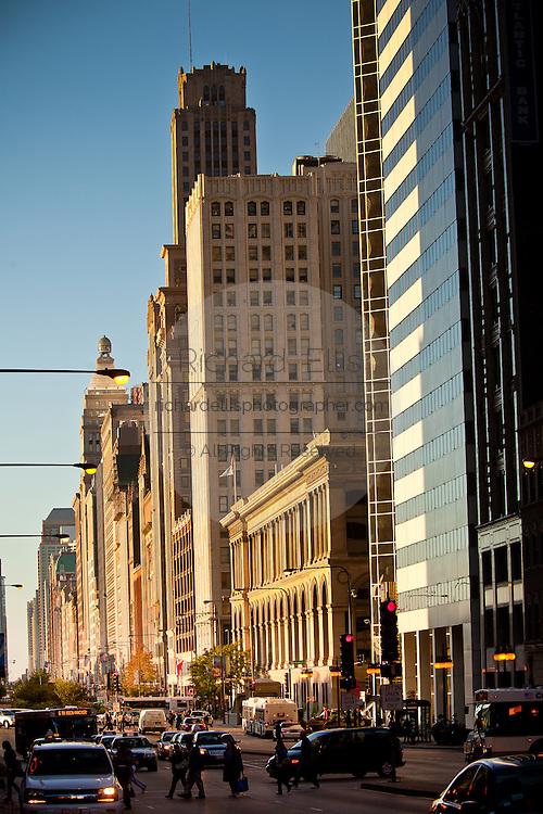 Chicago skyline along the Michigan Avenue Chicago, IL