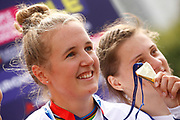 Podium BMX Finals women, Laura Smulders (Netherlands) gold medal during the Cycling European Championships Glasgow 2018, at Glasgow BMX Centre, in Glasgow, Great Britain, Day 9, on August 10, 2018 - Photo luca Bettini / BettiniPhoto / ProSportsImages / DPPI<br /> - Restriction / Netherlands out, Belgium out, Spain out, Italy out -