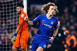 David Luiz of Chelsea celebrates scoring the winning goal to send his side to the Carabao Cup Final - Mandatory by-line: Robbie Stephenson/JMP - 24/01/2019 - FOOTBALL - Stamford Bridge - London, England - Chelsea v Tottenham Hotspur - Carabao Cup