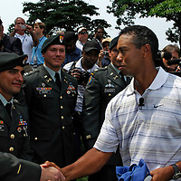 04 July 2007:  Tiger Woods greets injured servicemen with Former President George H. W. Bush after Bush teed off to start the inaugural AT&T National PGA event at Congressional Country Club in Bethesda, Md. The proceeds of the golf tournament will benefit the Tiger Woods Foundation and local Washington, DC, based charities.   ****For Editorial Use Only