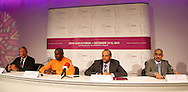 Picture by Paul Terry/Focus Images Ltd. 07545642257.31/07/12.(L-R) Richard Attias, Carl Lewis, His Exellency Sheikh Saoud Bin Abdulrahan Al-Thani, and His Exellency Sheikh Faisal Al-Thani during a press conference to announce the Doha GOALS Forum. GOALS is a  new initiative with the aim to build a community of hundreds of leaders from around the world who share the conviction that sport is a crucial vehicle for social and economic development.