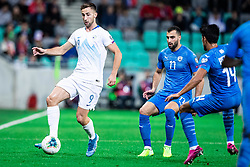 Andraž Šporar of Slovenia and Loai Taha of Israel during the 2020 UEFA European Championships group G qualifying match between Slovenia and Israel at SRC Stozice on September 9, 2019 in Ljubljana, Slovenia. Photo by Grega Valancic / Sportida