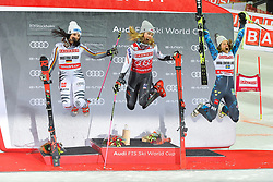 19.02.2019, Stockholm, SWE, FIS Weltcup Ski Alpin, Parallelslalom, Damen, Siegerehrung, im Bild v.l. 2. Platz Christina Geiger (GER), 1. Platz Mikaela Shiffrin (USA), 3. Platz Anna Swenn Larsson (SWE) // f.l. second placed Christina Geiger of Germany race winner Mikaela Shiffrin of the USA third placed Anna Swenn Larsson (SWE) during the winner Ceremony for the ladie's parallel slalom of FIS ski alpine world cup at the Stockholm, Sweden on 2019/02/19. EXPA Pictures © 2019, PhotoCredit: EXPA/ Nisse Schmidt<br /> <br /> *****ATTENTION - OUT of SWE*****