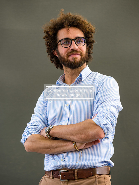Pictured: Edinburgh International Book Festival, Edinburgh, Scotland, United Kingdom, 26 August 2019. Mazen Maarouf, Palestinian writer, poet, translator and journalist, talks about his book 'Jokes for Gunmen' at the book festival today.<br /> <br /> Sally Anderson | EdinburghElitemedia.co.uk
