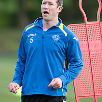 St Johnstone defender Frazer Wright pictured during training ahead of his disciplinary hearing at Hampden Park....16.05.13<br /> Picture by Graeme Hart.<br /> Copyright Perthshire Picture Agency<br /> Tel: 01738 623350  Mobile: 07990 594431