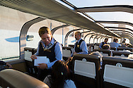 Rocky Mountaineer is a Canadian tour company that operates trains on four rail routes through British Columbia and Alberta.  Pictured here is the route from Seattle, Washington to Vancouver, British Columbia, a new route that allows one to cross the border by train and clear customs upon disembarcation. Gold Leaf service offers a domed car with outstanding views of the surrounding terrain.