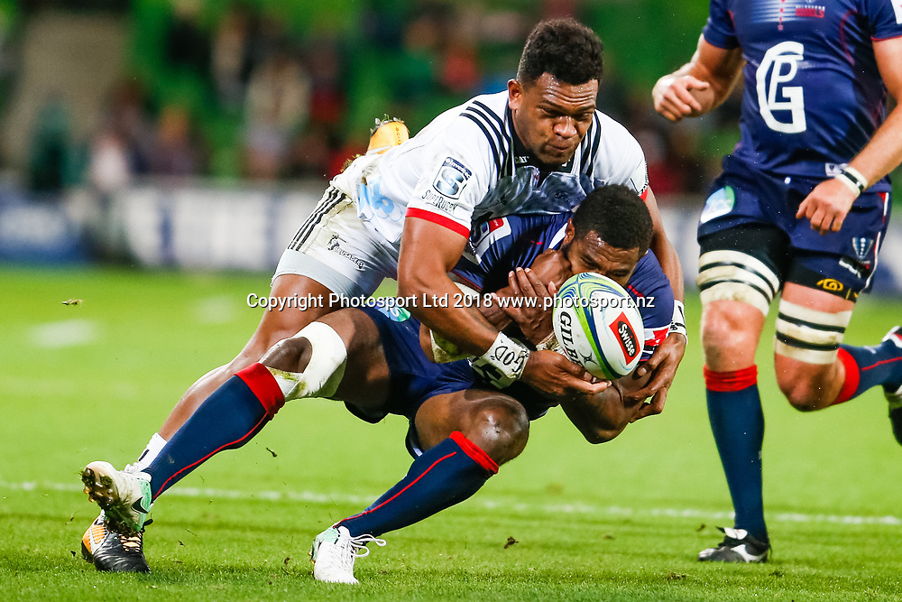 Seta Tamanivalu and Marika Koroibete during Rebels v Crusaders, 2018 Super Rugby season, AAMI Park, Melbourne, Australia. 4 May 2018. Copyright Image: Brendon Ratnayake / www.photosport.nz